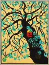 Dessy Larsen, akryl på lærred, komposition med træ