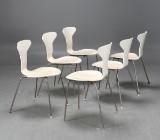 Arne Jacobsen, stolar 3105 Myggan, 6 st