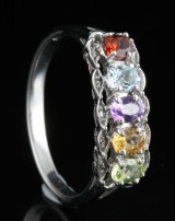 Multicolour diamond and gem ring approx. 1.25ct<br>