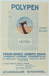 'Polypen, Frank Norris berømte roman, Gyldendals Boghandel', Vintage plakat.