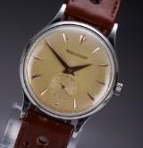 Vintage Jaeger LeCoultre men's watch, steel, golden dial, 1950's