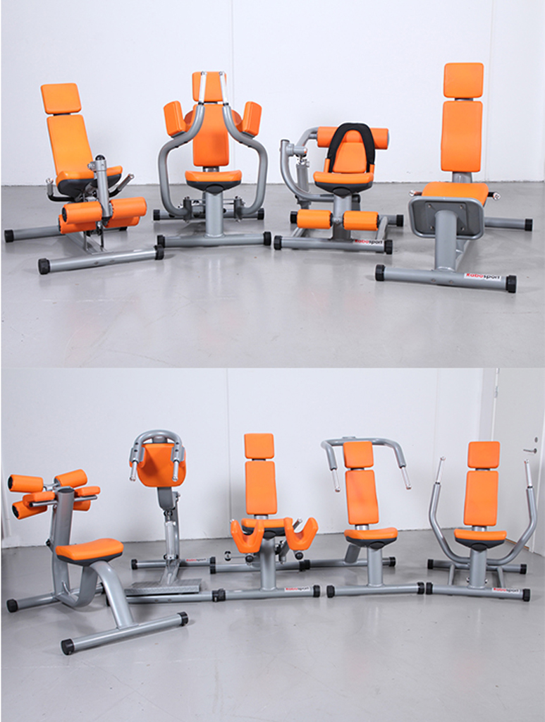 Robosport. Komplet sæt af træningsmaskiner til cirkeltræning - Robosport. Komplet sæt med 9 professionelle træningsmaskiner til cirkeltræning. Med hydraulik, vægt kan indstilles. Alle maskiner har to hjul til nem flytning. Fremstår nye og ubrugte