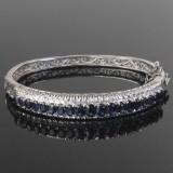 Safir og diamant armring i 18 kt. hvidguld