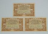 Danmark tre 100 kr-sedler 1938 med fortløbende numre (3)