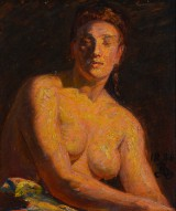 Kristian Zahrtmann. 'Studie til Leon. Christina, halv figur, nøgen model', oil on canvas mounted on panel