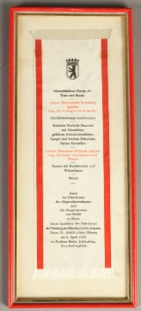 Adolfo López Mateos, President of the United Mexican States, menu of a dinner hosted in Berlin in honour of Dr. Adolfo López Mateos, on April 6, 1963