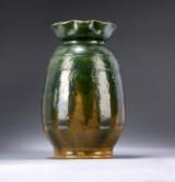 Thorvald Bindesbøll. A large unique Skønvirke / Danish Art Nouveau vase, green glazed earthenware, anno 1901