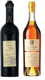 To fl. Lhéraud cognac, Bons Bois 1976 samt Cuvée Anniversaire 1942-2012. I trækasser. (2)