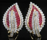Earings in 18kt. set with red rubies and diamonds approx. 1.20ct (2)