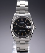 Rolex. 'Date' Vintage men's watch in steel with black dial, c. 1962
