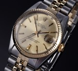 Rolex Datejust. Vintage mid-size watch, 18 kt. gold and steel, c. 1978