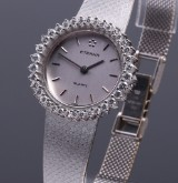 Eterna. Vintage ladies watch, 18 kt. white gold, with 1.80 ct. of diamonds