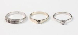 Ringar, 3 st 18K vittguld samt diamanter 3