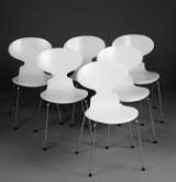 Arne Jacobsen. Sæt på seks stole, model 3101, Myren, (6)