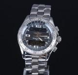 Breitling 'B-1 Professional'. Men's chronograph, steel, partly digital display, 2000s