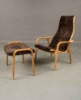 Yngve Ekström. Lamino Easy chair and stool, Swedese, oak (2)