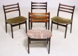 Dansk møbelproducent. Sæt på fire stole af palisander / bøg (4)