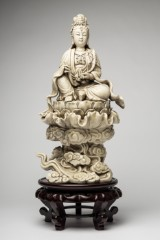 Blanc de Chine, sculpture, Guanyin on Lotus throne, porcelain, wood (2)
