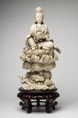 Blanc de Chine, sculpture, Guanyin on Lotus throne, porcelain, wood (2)
