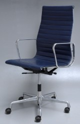 Charles Eames. Office chair, model EA-119, dark-blue leather