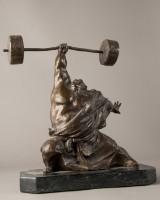 Wu Yao, Chinesischer Gewichtheber, 2001. Bronzeskulptur