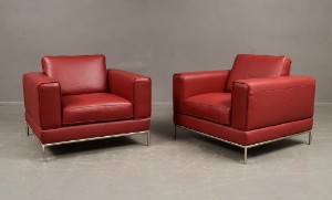 Ikea Arild 2 Stck Sessel In Rotem Leder Mit Gestell Aus Metall