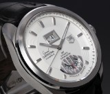 Tag Heuer 'Grand Carrera GMT'. Men's watch, steel, with pale dial, 2000s