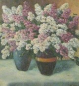 Blumenstillleben, Öl auf Platte