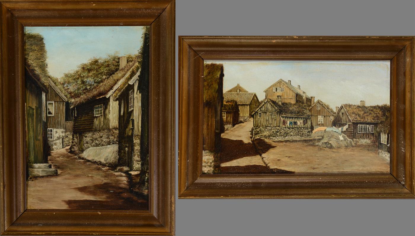 Ubekendt kunstner. To malerier, olie på lærred, motiver fra Thorshavn - Motiver fra Thorshavn, af ubekendt kunstner, 1900-tallet, olie på lærred monteret på pap, usign. 21 x 34 cm (29 x 42 cm) og 31 x 21,5 cm (39 x 30 cm)