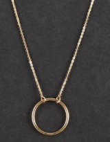 Necklace with round pendant in 14k