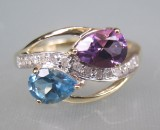 Ametyst, topas og diamantring