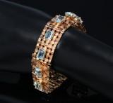 Vintage bracelet, 18 kt. gold with aquamarine, c. 1950s