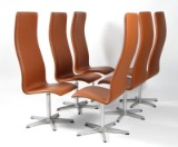 Arne Jacobsen. A set of six high-backed Oxford office chairs, cognac leather (4)