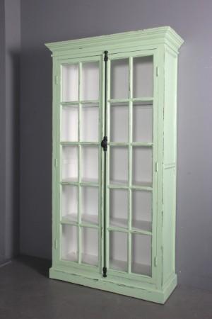 ware 3074086 vitrine schrank gr n antikbemaltes holz. Black Bedroom Furniture Sets. Home Design Ideas