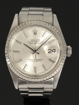 Rolex 'Datejust'. Herreur i stål med sølvfarvet skive, ca. 1965