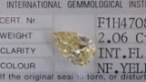 A loose pear-shaped diamond, 2.06 ct. Natural fancy yellow IF IGI certified