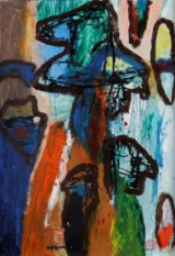 Rolf Gjedsted. Abstrakt komposition betitlet 'Det Vilde Hjerte', akryl på pap, 2014