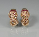 Øreringe af guld med rubiner, smaragder og brillanter ( 2 )