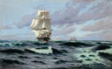 Carl Locher, marine scene with the Frigate 'Jylland', oil on canvas