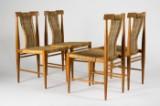 Fire stole af teaktræ fra 1960'erne med snoreflet (4)