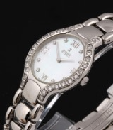 Ebel 'Beluga'. Ladies watch, steel, with diamonds and mother of pearl dial