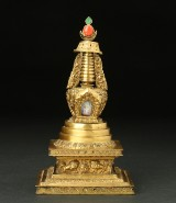 Stupa, gilt copper, Tibet, 19th century