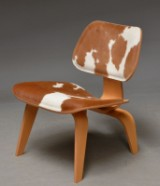 Charles Eames. LCW Plywood Chair, Special Edition with cowhide