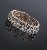 Fransk diamantarmbånd af guld og sølv, i alt ca. 14.00 ct. 1800-tallet