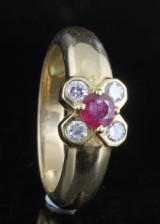 Diamond and ruby ring in 18kt approx. 0.30ct