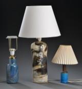 Tre bordlamper af keramik og glas (3)