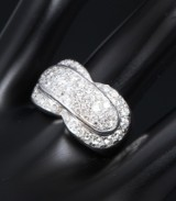 Brilliant-cut diamond ring, 18 kt. white gold, total approx. 1.68 ct.