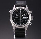IWC 'Doppelchronograph'. Men's watch, steel, with black dial, c. 2000