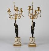 Ett par kandelabrar för tre ljus vardera, Louis XVI stil
