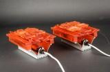 Cebo Industri. Par væglamper af orange akryl (2)